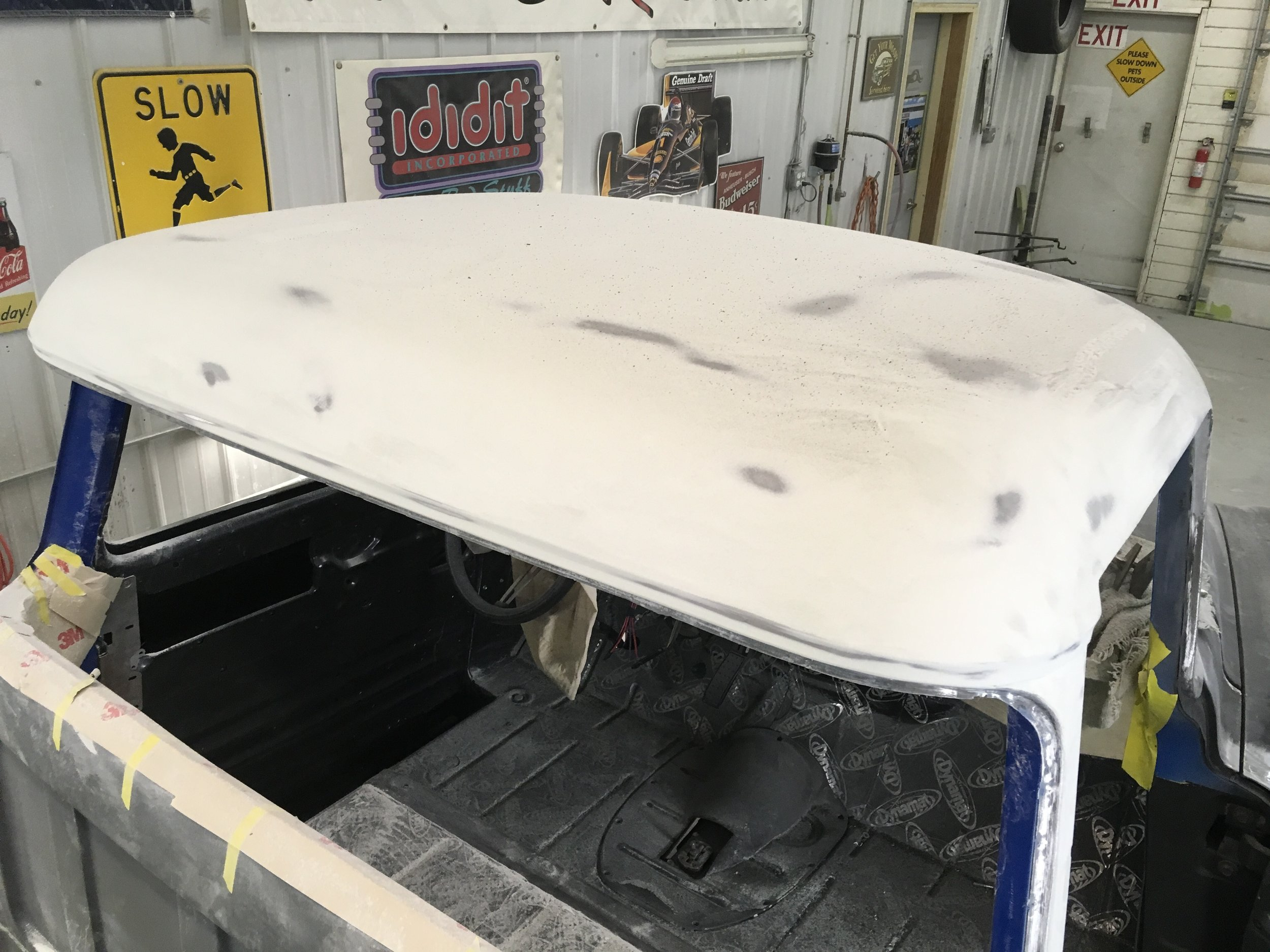 Roof ready for primer 57 GMC truck