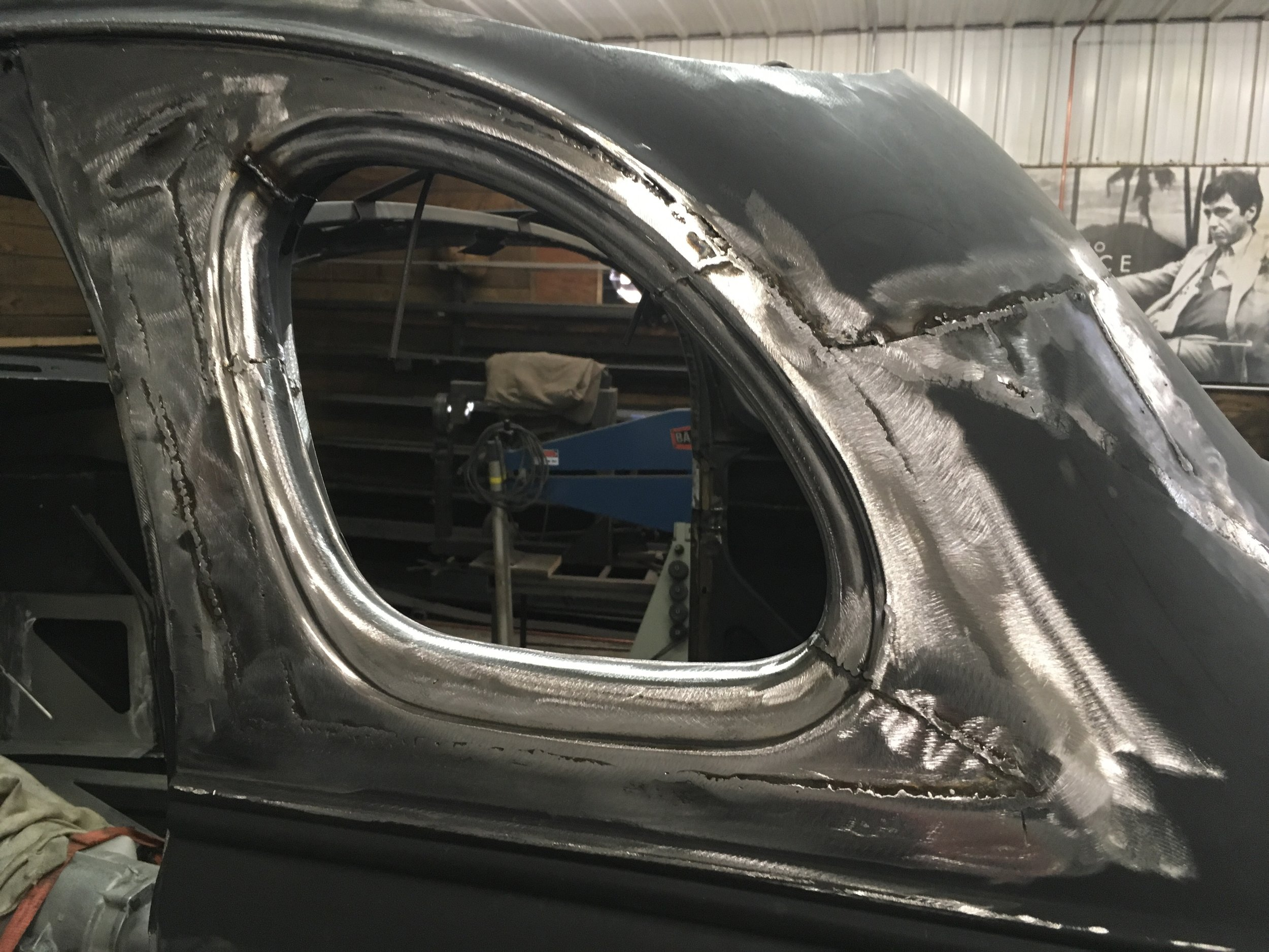 Rear window, sectioned and fitted on 38 Chevy Coupe, B.O.B