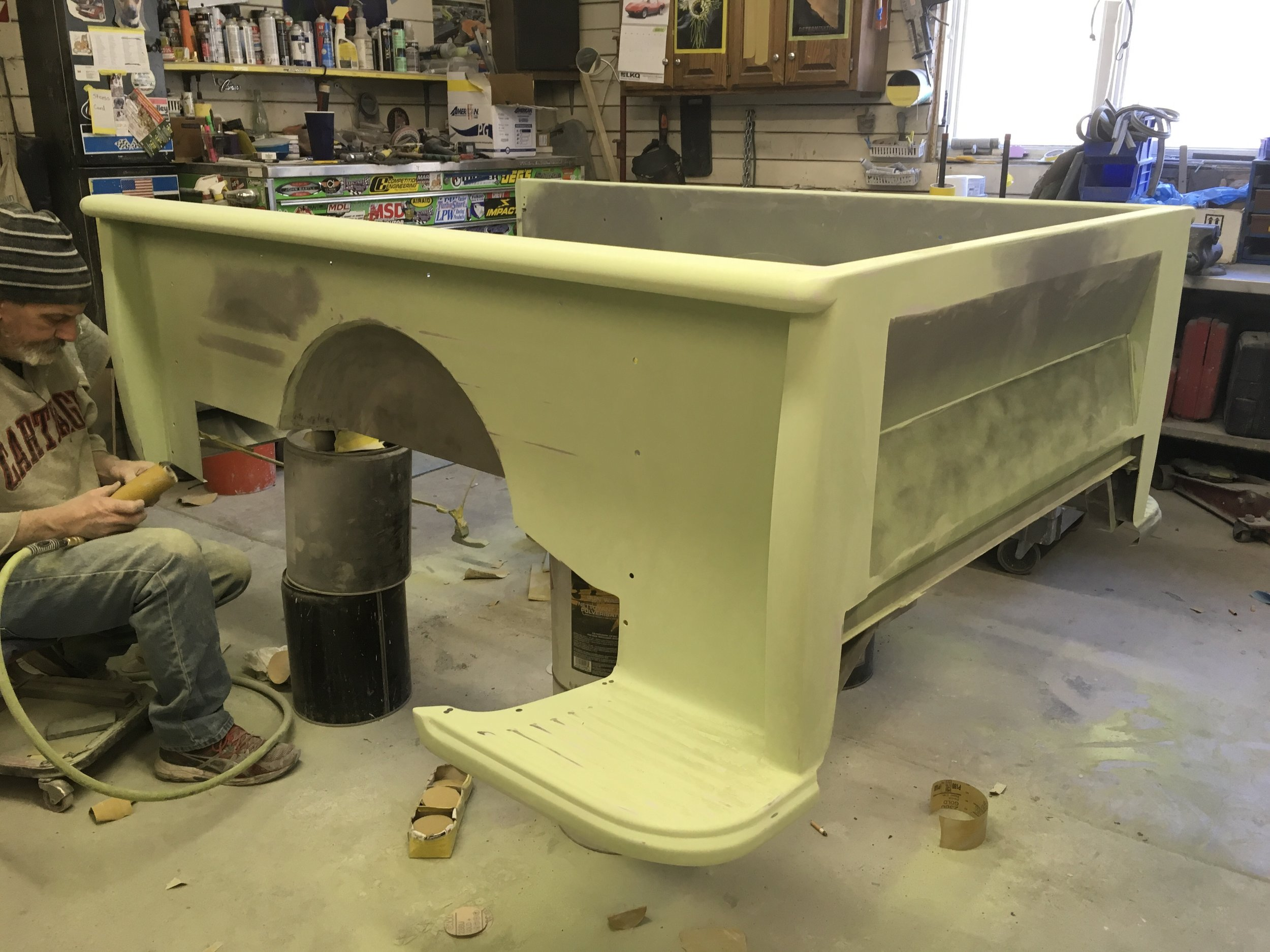 Final sanding the primer 55 Chevy truck