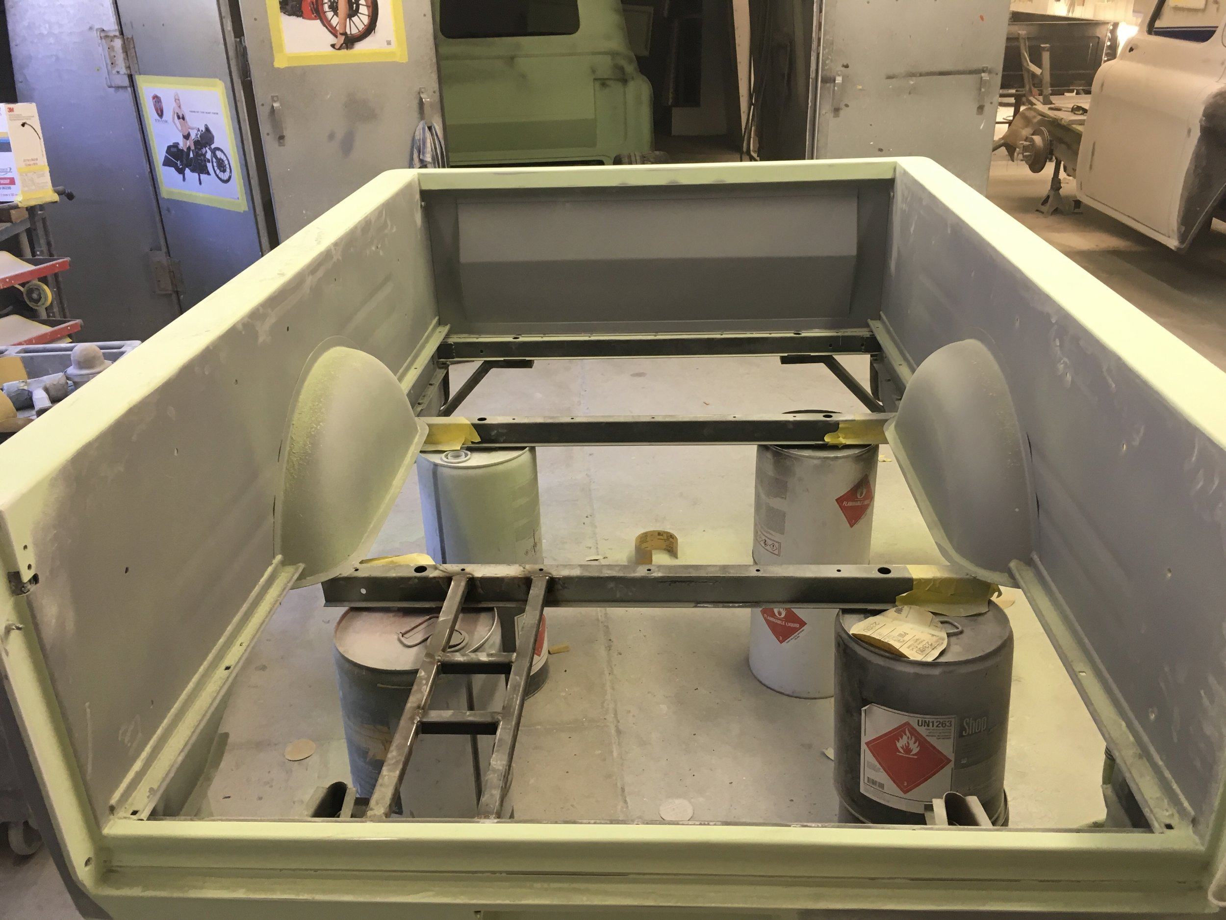 More 55 Chevy bed, sanding the primer