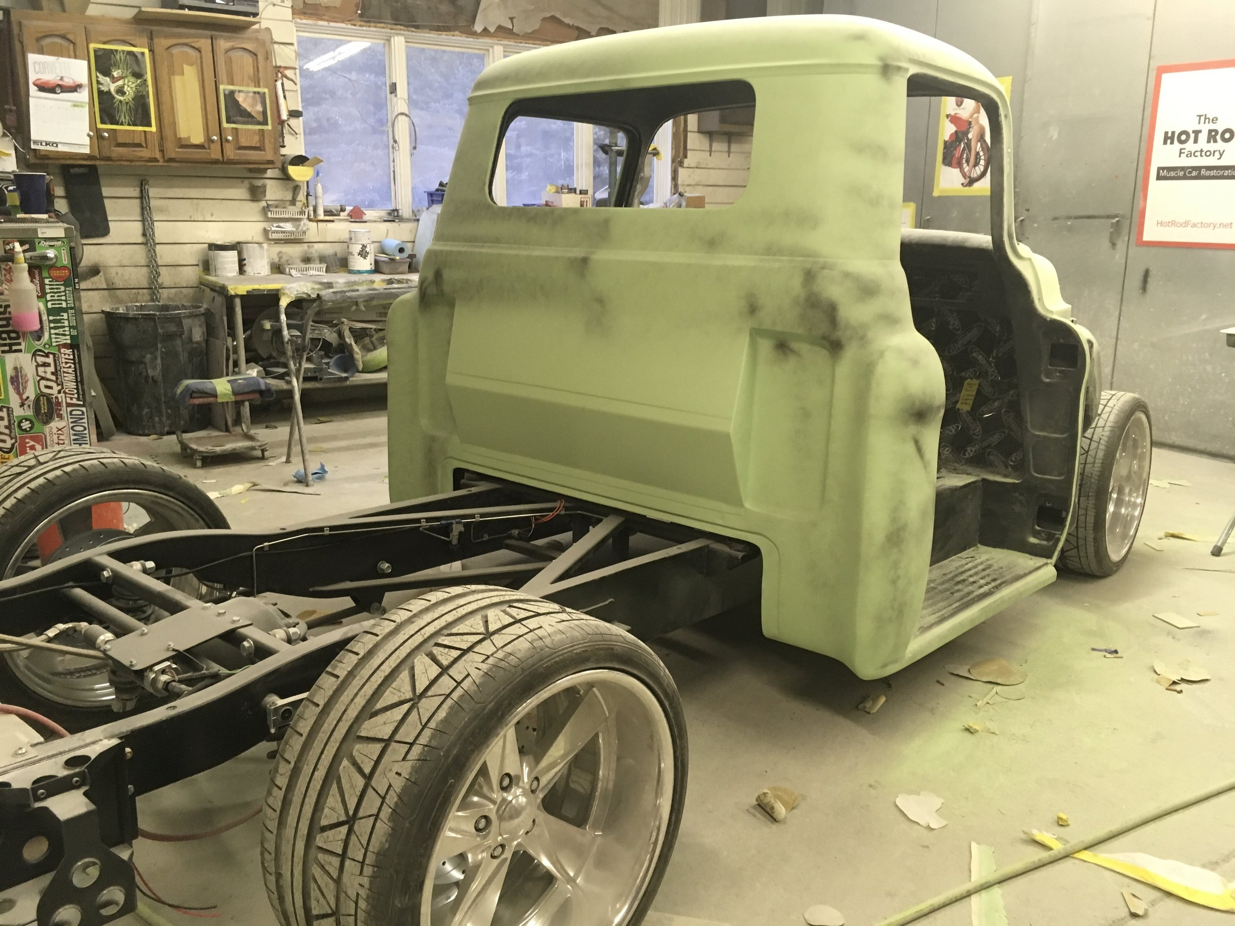 55 Chevy truck, getting ready for paint