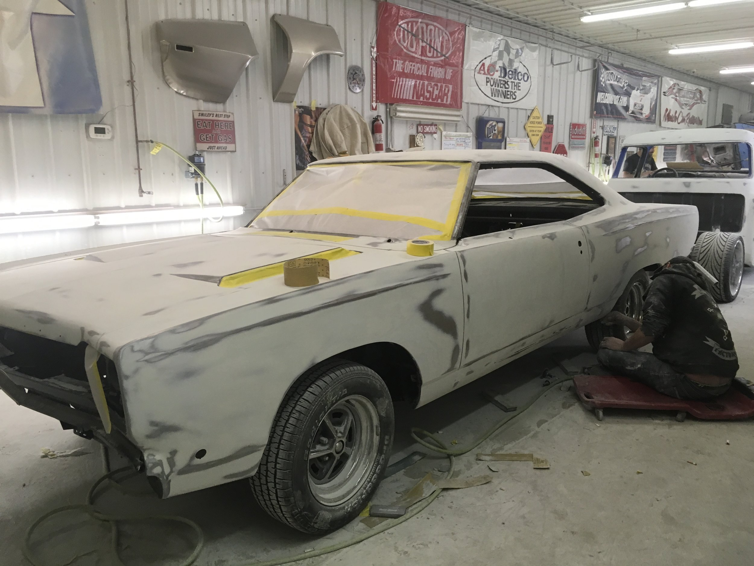 Taping getting ready to prime, 1968 GTX