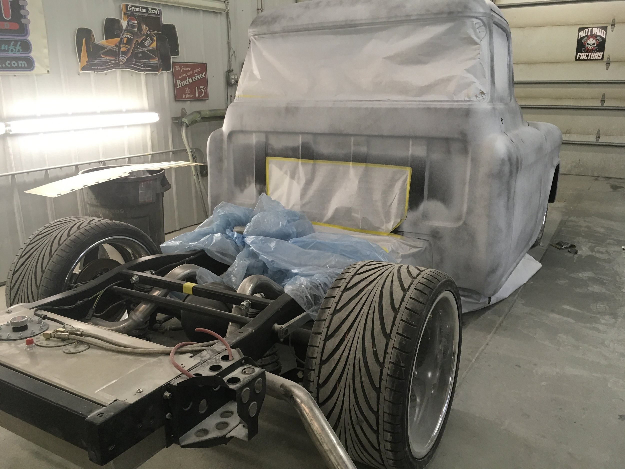 Skim coated and primed, ready for blocking 57 Chevy truck