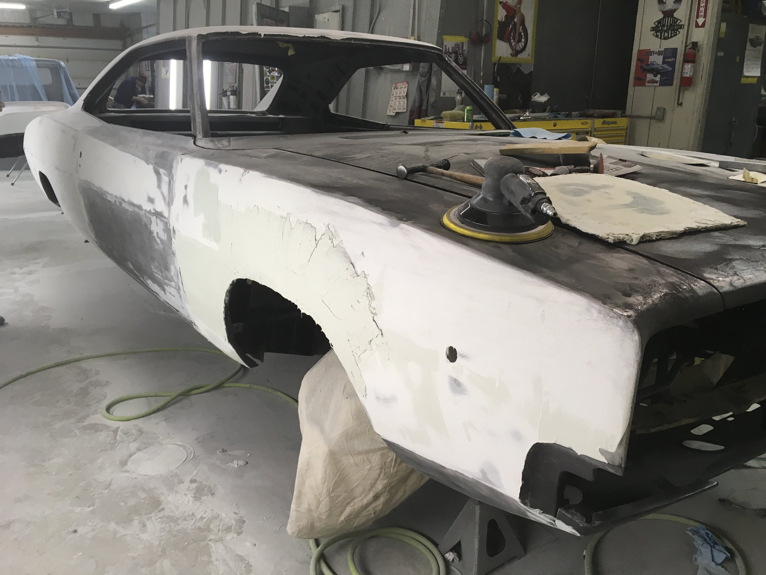 Sanding body work today on 68 Charger.
