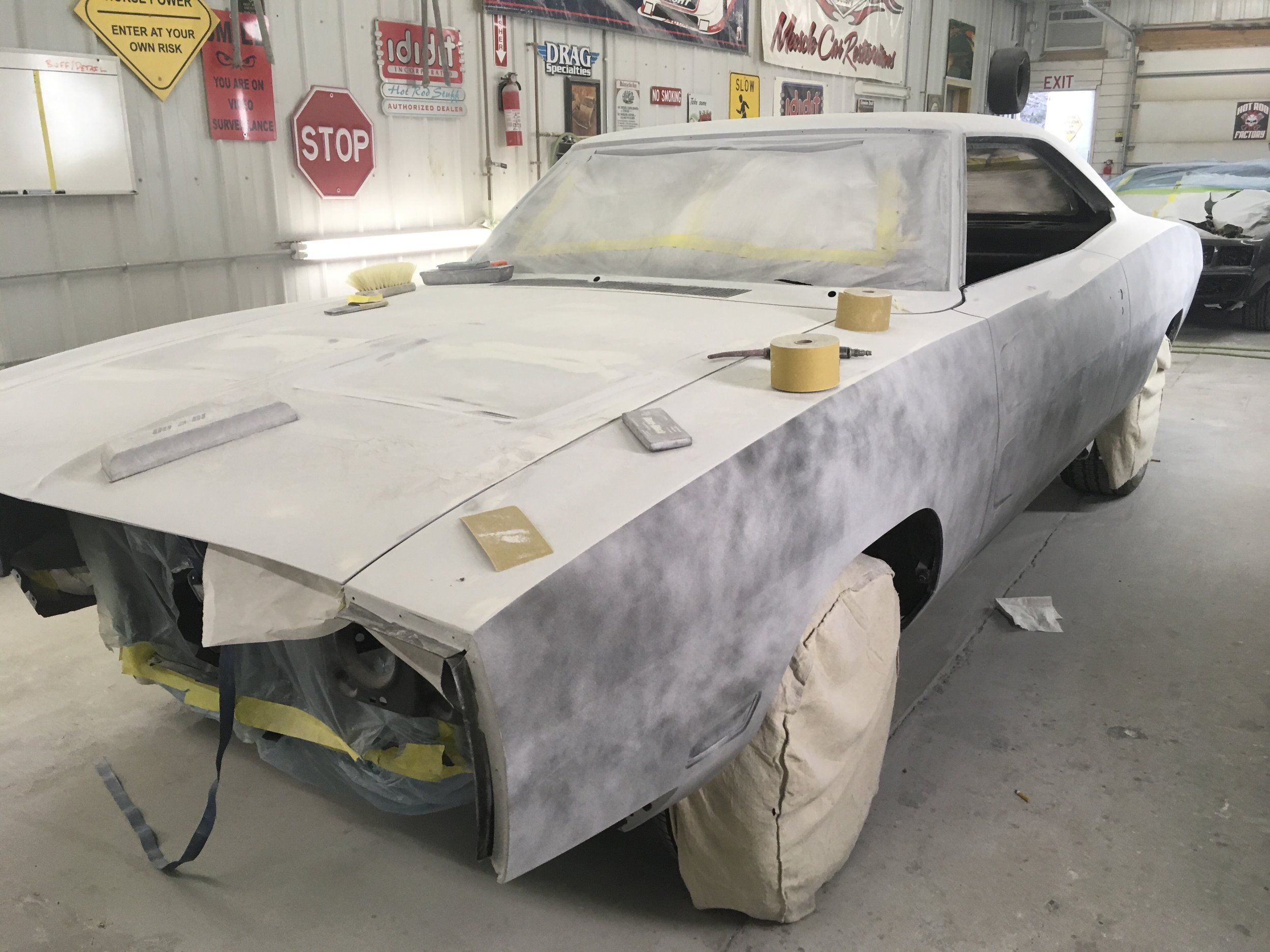 Sanding primer, fine tuning lines on 1970 Charger