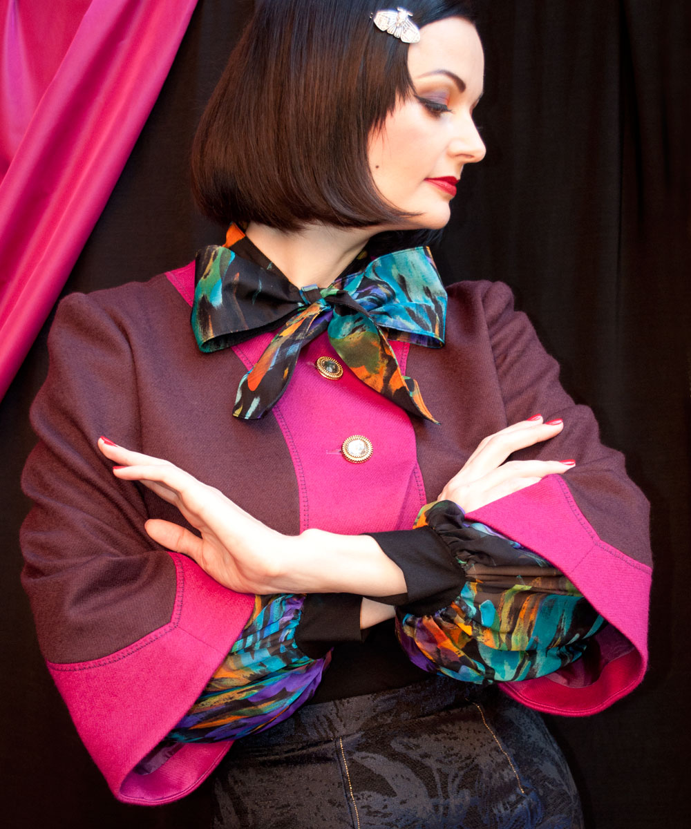 Lucy wears the Pink and Plum Rosavar Bolero