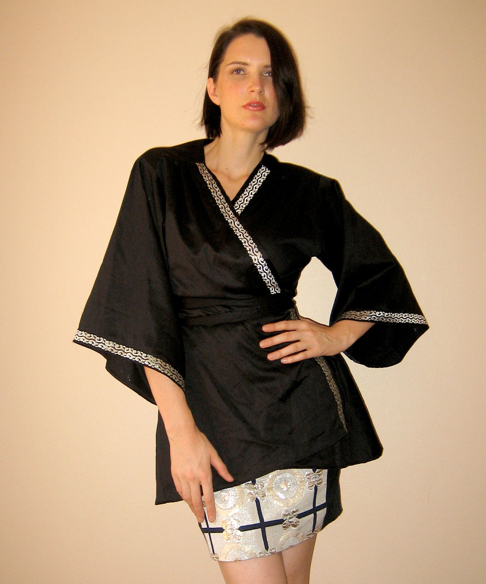 I love using vintage trims and braids on my designs. This black polished cotton kimono looks so special because of the vintage trim I used. It is a very unique design, since only three copies of this style were created.
