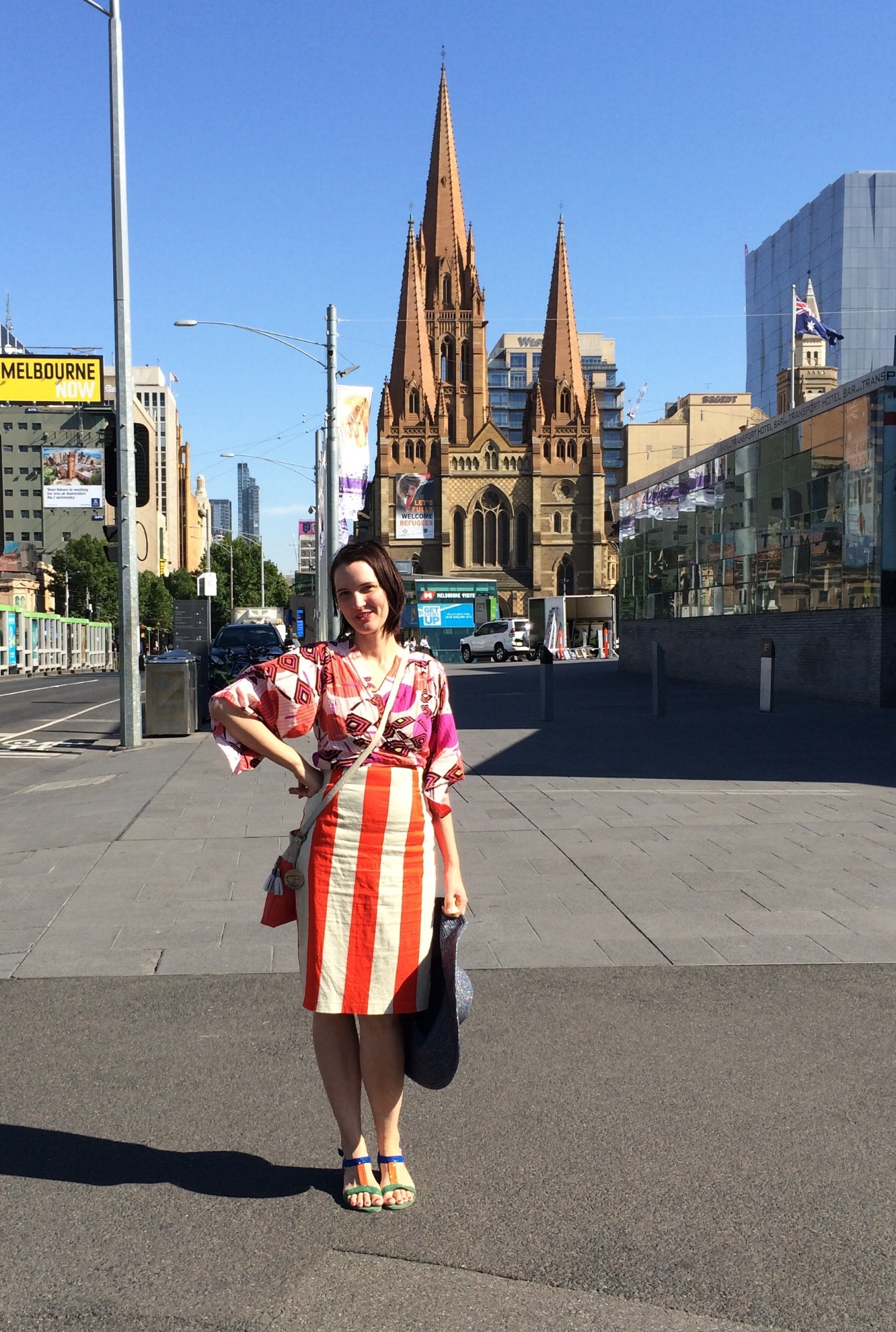 Here I am wearing the Coral Kimono in Melbourne, tucked into a pencil skirt. I always receive comments on this outfit!