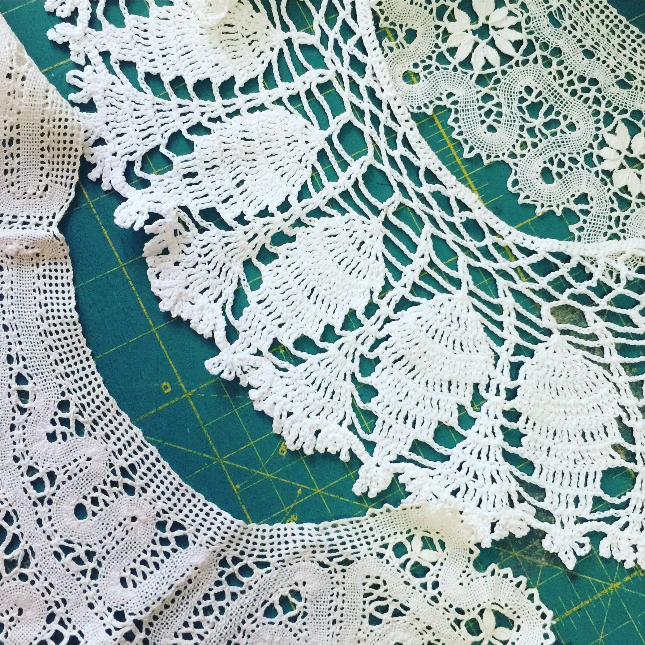 These are all hand crocheted and I think bobbin-laced collars. Either way they are very intricate and detailed. Perhaps they might look nice on a skirt hem?
