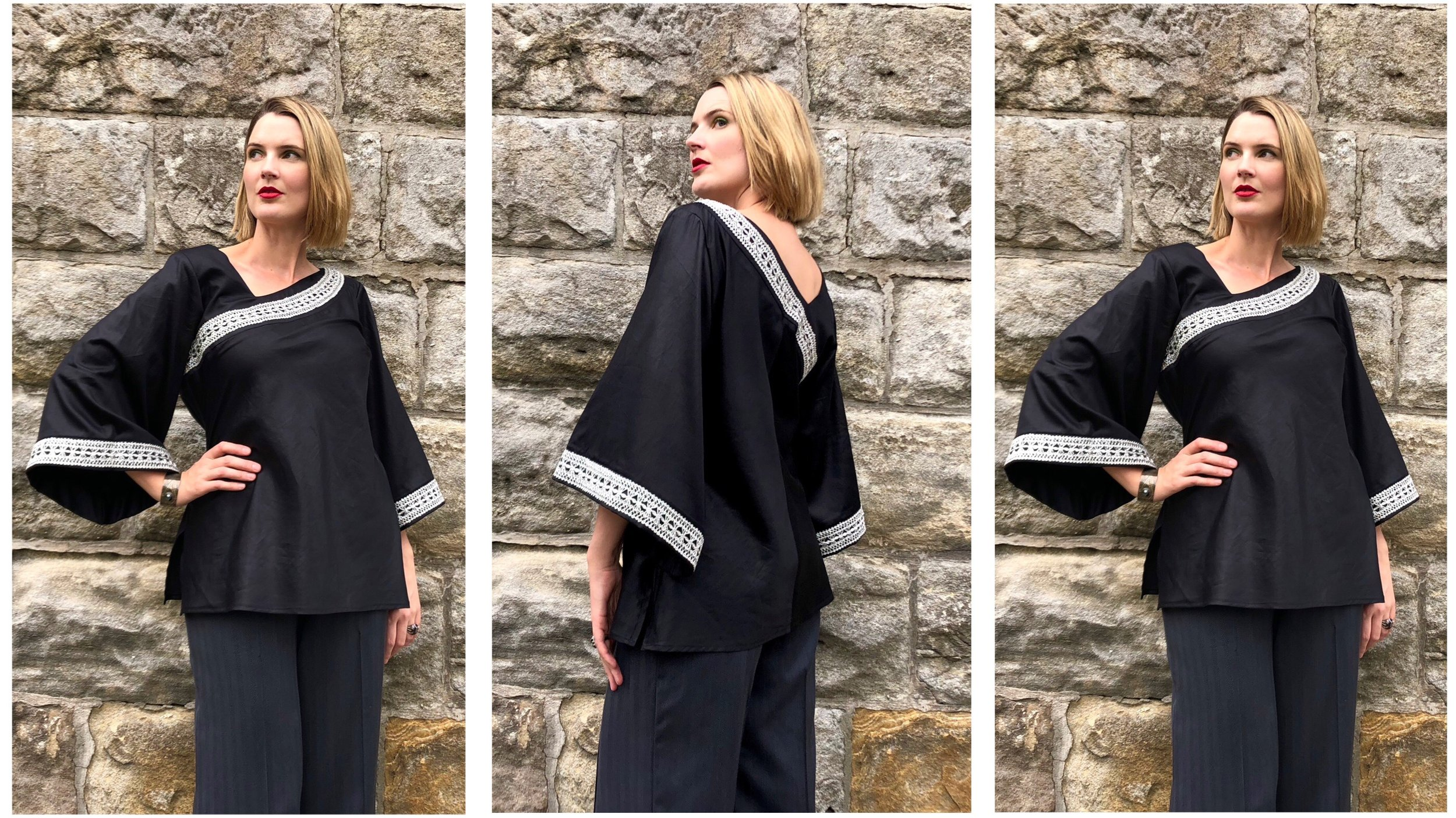If you must wear black, wear it with style and flair! The silver braid makes this style very unique and dramatic!This design is perfect to wear with pants, jeans or a straight/pencil skirt.    The Black Cotton Asymmetric Bias Blouse ($200 AUD), features a silver metallic vintage braid, and wide flared sleeve.
