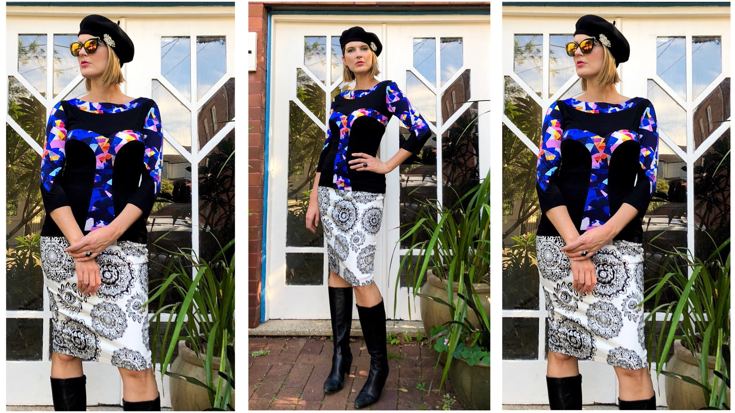 Blue Mosaic and Black Graphic Knit Top ($140 AUD), worn together with the Black and White Pencil Skirt. The knit top and skirt are SOLD OUT at time of posting.