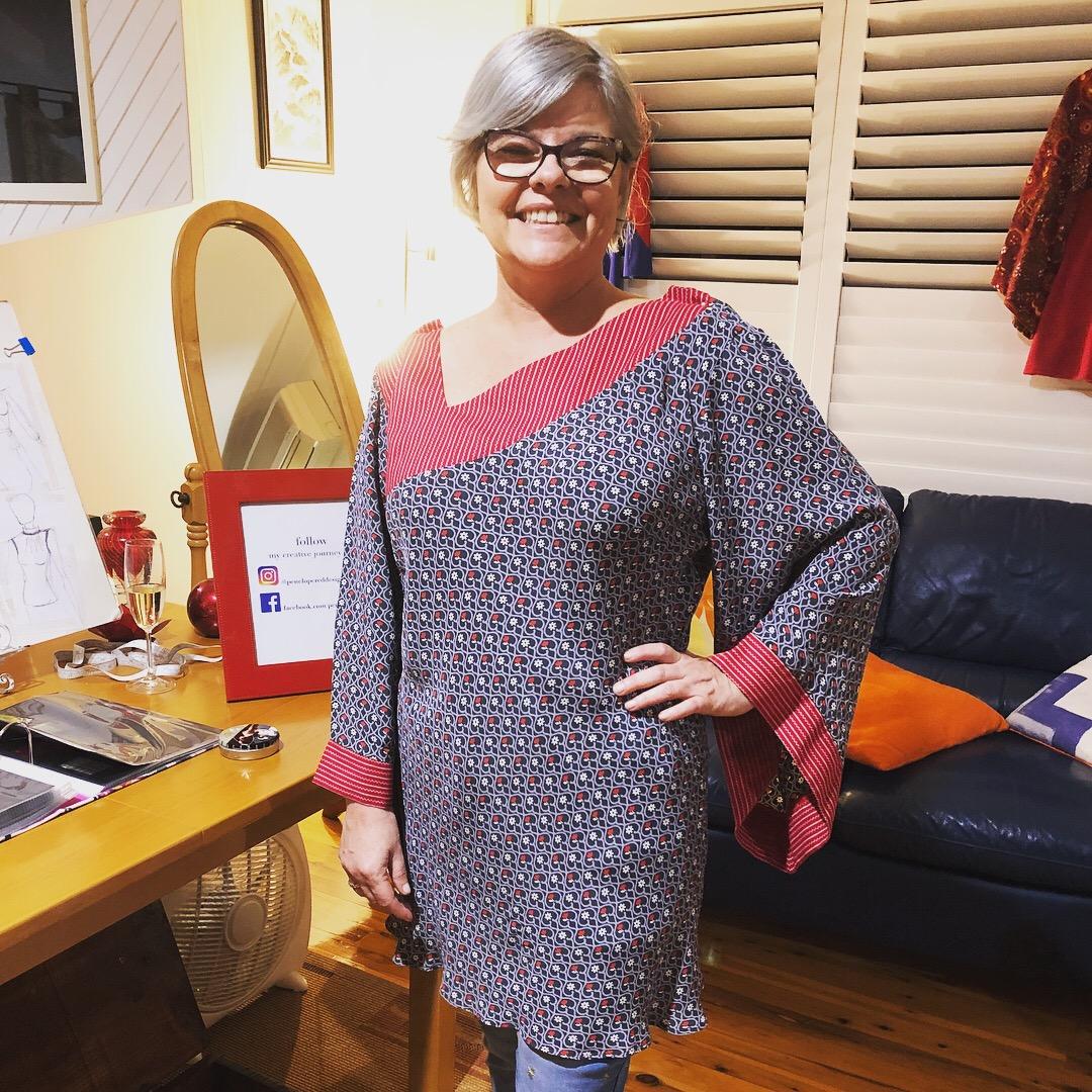 Laura wearing one of my Asymmetric Bias Cut Blouses.