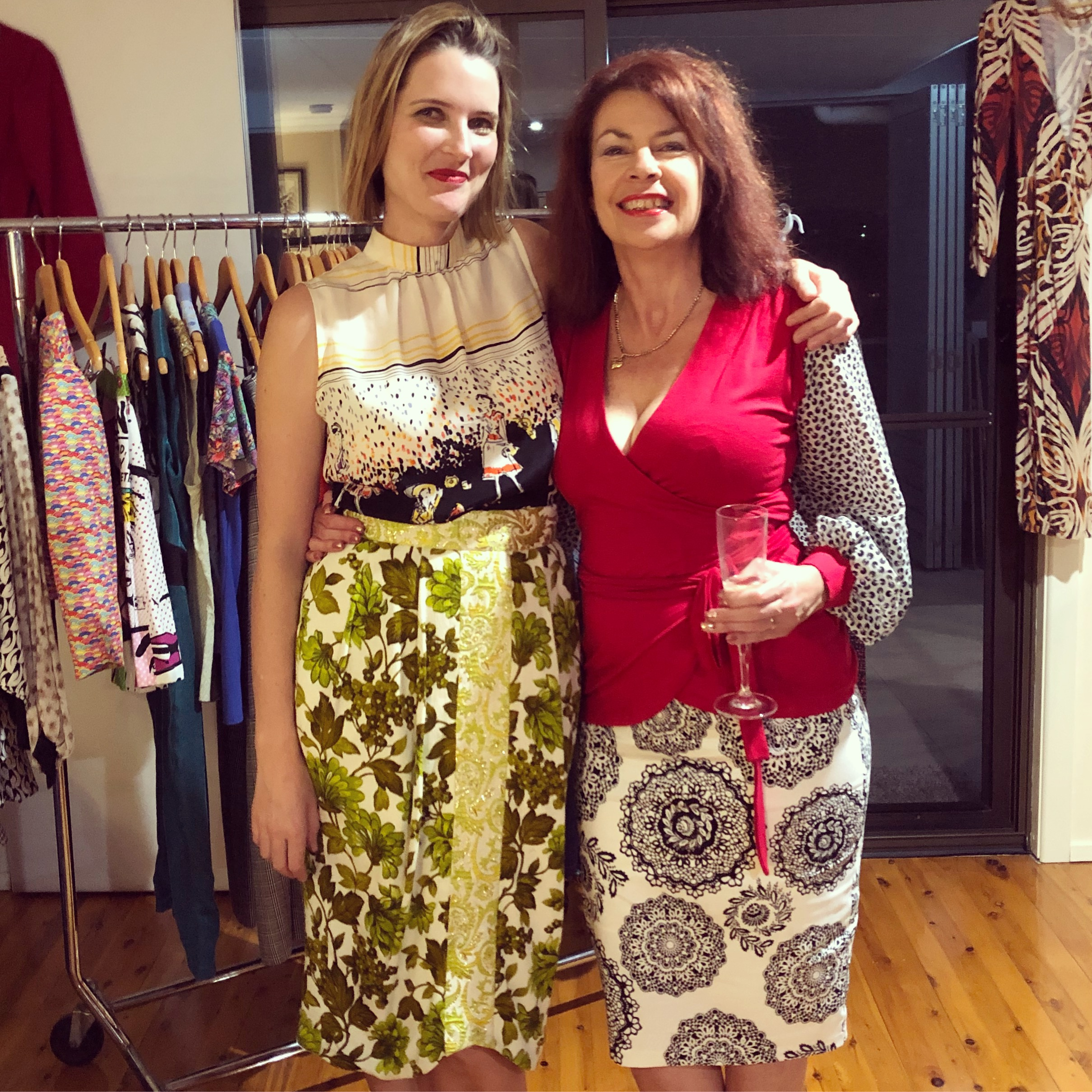 My wonderful host, Lorelle, and I wearing head to toe Penelope Red.