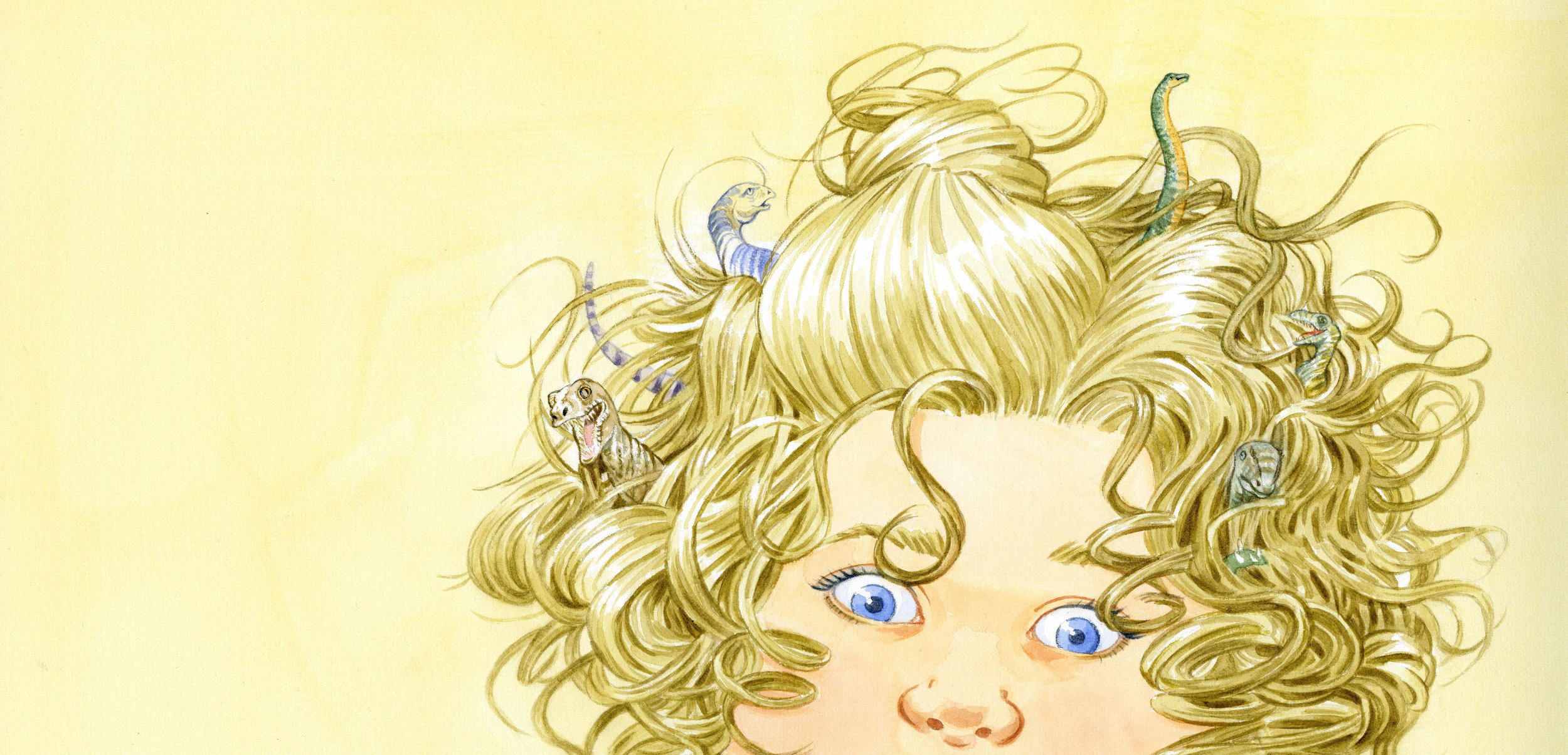 Illustration by Anni Matsick from the children's picture book Dinosaurs Living in My Hair!  In the book by Jayne M. Rose-Vallee, 6-year-old Sabrina's unruly curls are difficult to manage. When her mother warns that creatures could hide out there, Sabrina's imagination takes over.