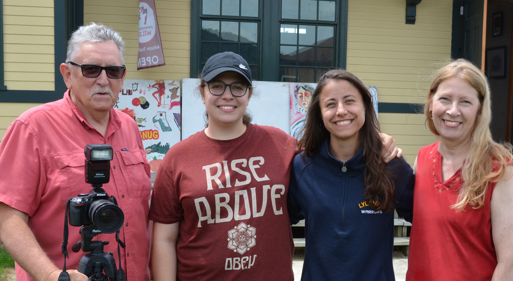 left to right:  Rich Wykoff/board member & Shutterflies volunteer, Sami Cutrona/Assistant Instructor, Emma Daniels/Lead Instructor, Carol Ann Simon Cillo/ CCAC President