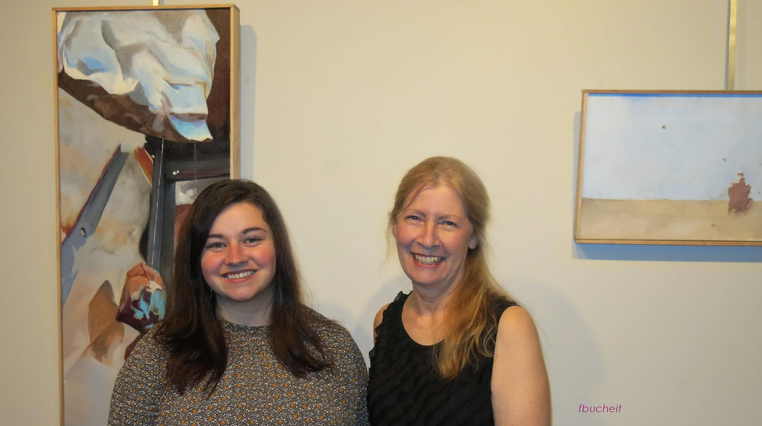 Claira, left, and Carol, CCAC president to her right. Both received degrees from Edinboro University of PA, and enjoyed sharing memories of making art on campus.