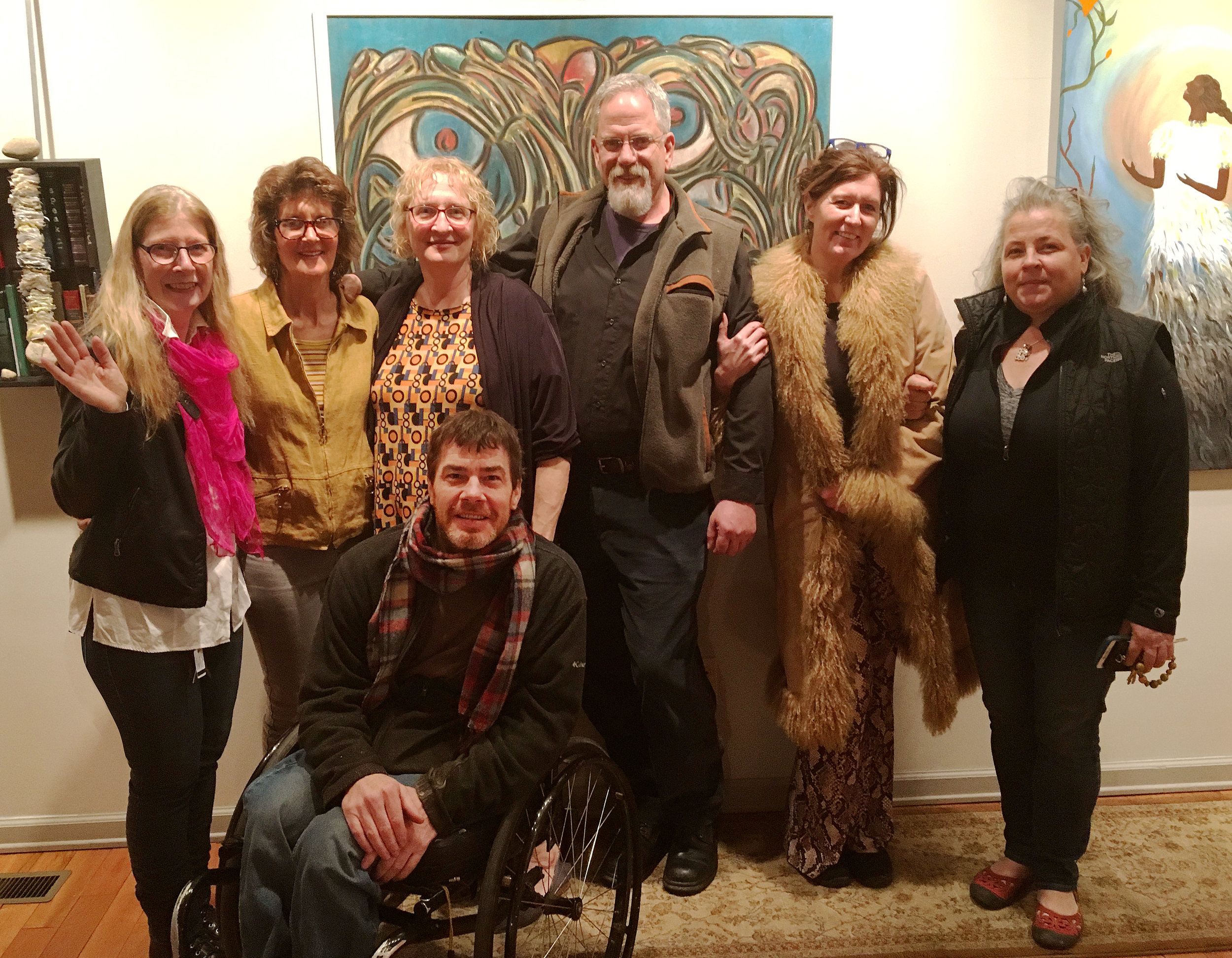"Those who do work in Williamsport at the Pajama Factory were some of the exhibiting artists and are also there to support their artistic peers and friends! It is wonderful to pull together our nearby communities in order to celebrate the arts. All are standing in front of Tommy Grieco's piece, 'Blue""…he is pictured in front."