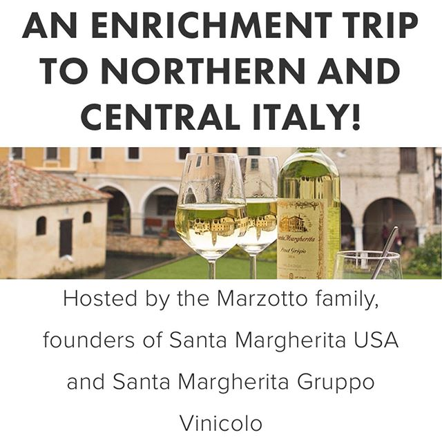 Apply now for this great opportunity to see the wines of Italy first hand! Thank you to @santamargheritawines For an amazing opportunity. Check out our website for the application and requirements. Itinerary includes touring wineries, vineyards, culinary venues, cultural sites, and other destinations of interest in Tuscany, Lombardy, Alto Adige, and the Veneto. Daily winery visits combined with evening wine dinners and other events will provide enrichment trip participants with experiences to deepen their passion for Italian wine, food, and culture. The trip begins in Florence and passes through Verona, Treviso, and Venice. Experience Italy's many alluring charms first hand and then use those experiences to inspire a love of Italy in others!