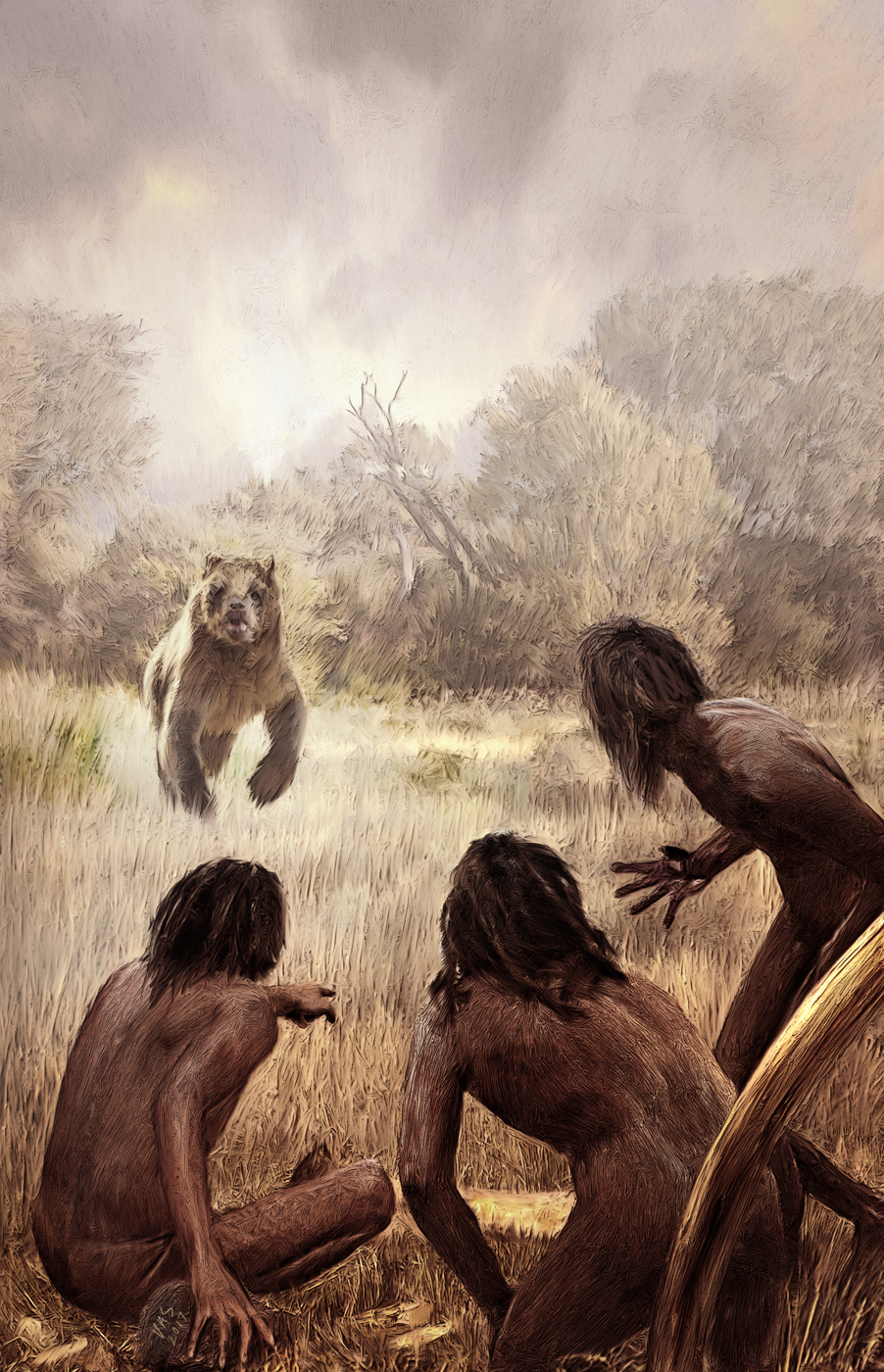 """""""The people were quite involved in their labor so they did not even have a chance to notice the approaching predator. When they saw it it was already late."""""""