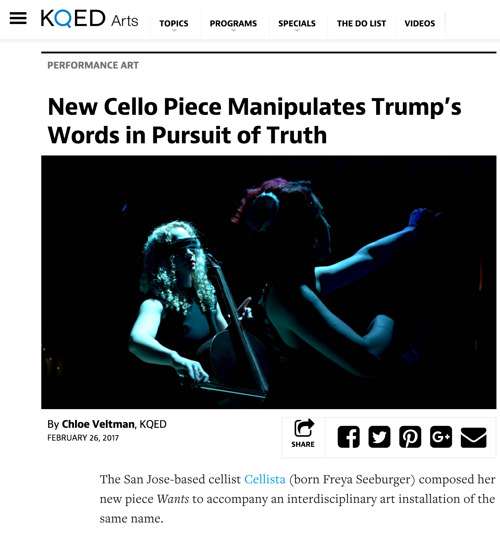 Cellista's performance art project entitled WANTS is featured in KQED Arts 100 Days of Art.