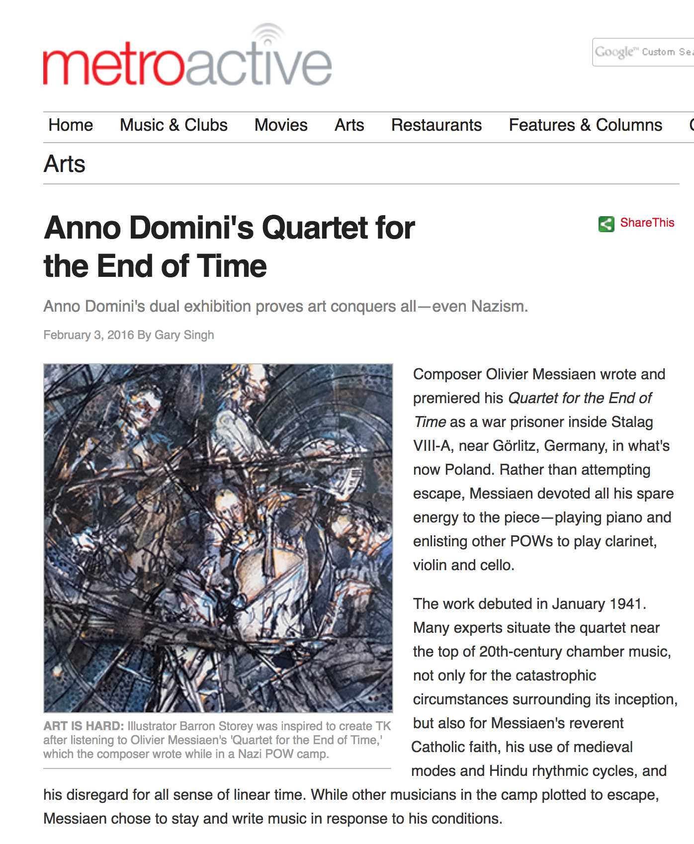 Article on Cellista's dual exhibit with Barron Storey by Gary Singh