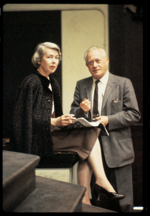 """Helen Lundeberg with Lorser Feitelson, NBC set of television show """"Feitelson on Art""""  circa 1960"""