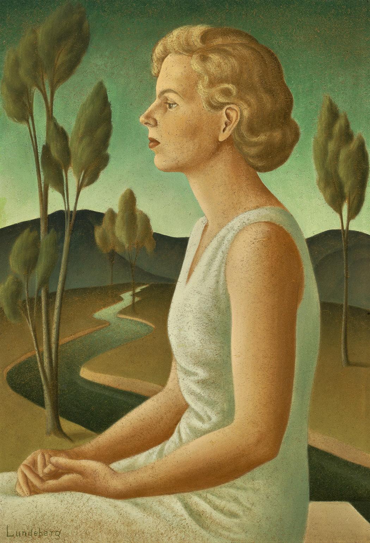 Portrait of Inez , 1933  oil on Celotex 36 x 24 inches; 91.4 x 63.5 centimeters