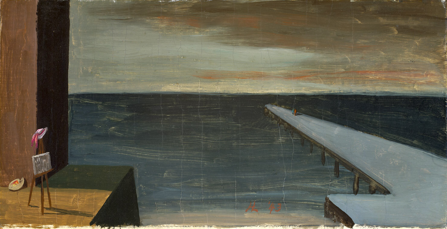 The Pier , 1943  oil on board 5 1/4 x 9 3/4 inches; 13.3 x 24.8 centimeters