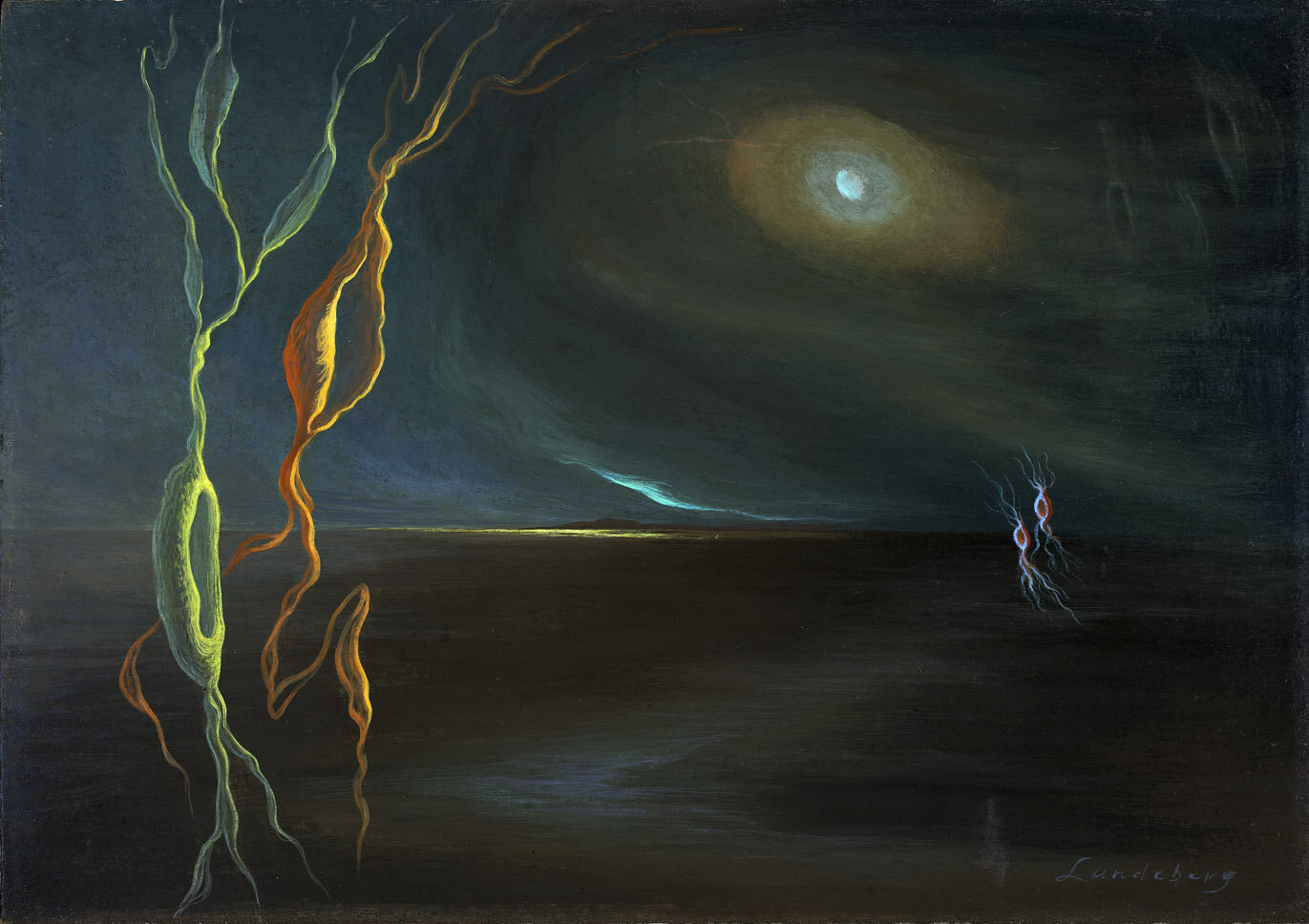 Inner/Outer Space , circa 1943  oil on board 6 x 39 inches; 15.2 x 99.1 centimeters