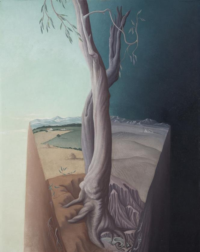 The Tree , 1938 30 1/2 × 24 inches; 77.5 × 61 centimeters oil on board  Crystal Bridges Museum of American Art