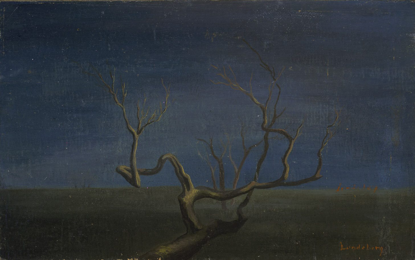 Tree in Landscape , 1948  oil on board 8 x 12 3/4 inches; 20.3 x 32.4 centimeters
