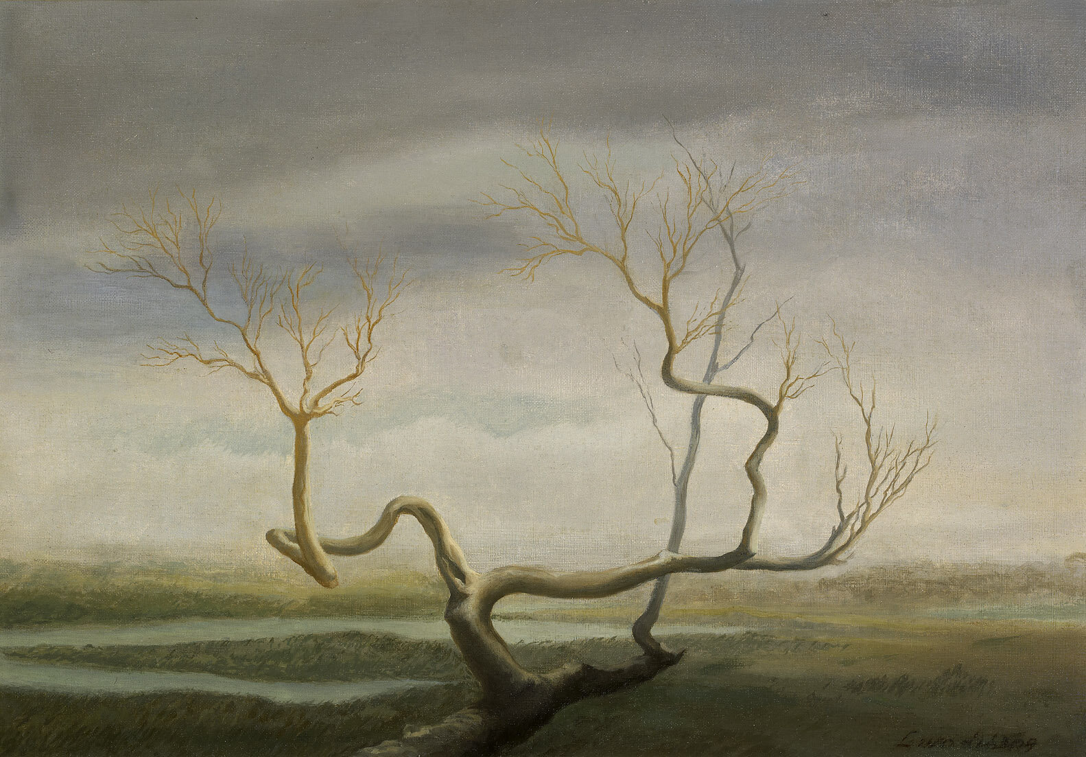 Tree on the Marsh , 1948  oil on canvas 14 x 20 inches; 35.6 x 50.8 centimeters