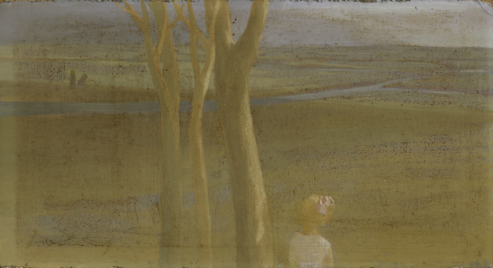 Girl in Landscape , 1949  oil on cardboard 5 x 9 inches; 12.7 x 22.9 centimeters