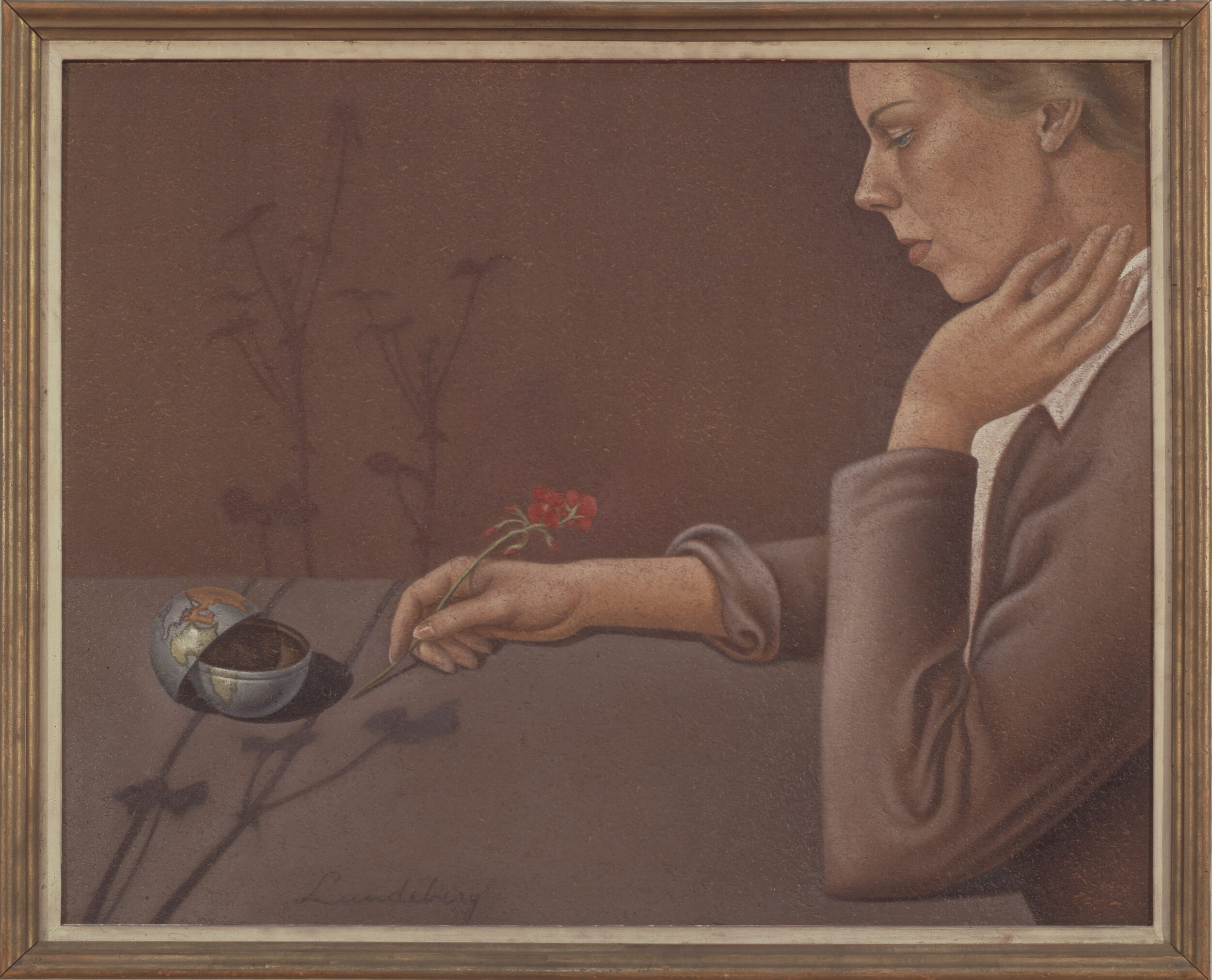 Artist, Flowers, and Hemispheres , 1934 oil on Celotex 24 x 30 inches; 61 × 76.2 centimeters