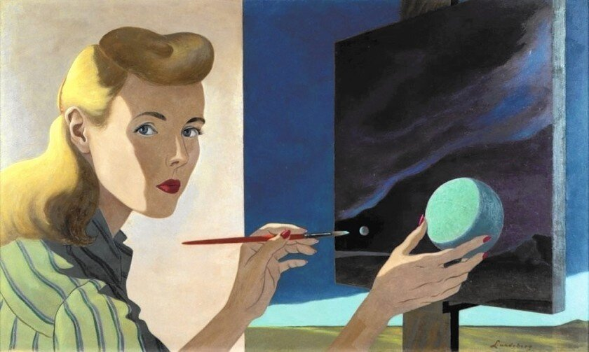 Self Portrait , 1944 oil on masonite 15 3/4 x 27 3/16 inches; 40 x 69 centimeters  Collection of the Zimmerli Art Museum at Rutgers University