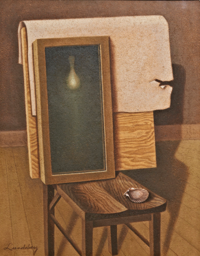 The Mirror (Enigma) , 1934 oil on canvas 37.75 x 31.75 inches; 95.885 x 80.645 centimeters  Nora Eccles Harrison Museum of Art, Utah State University