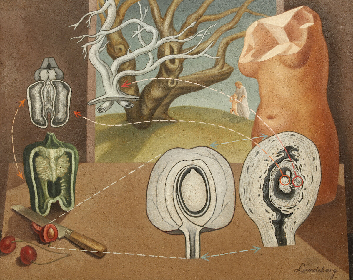 Plant and Animal Analogies , 1934-35 oil on Celotex 24 x 30 inches; 61 x 76.2 centimeters  The Buck Collection at The UCI Museum and Institute for California Art
