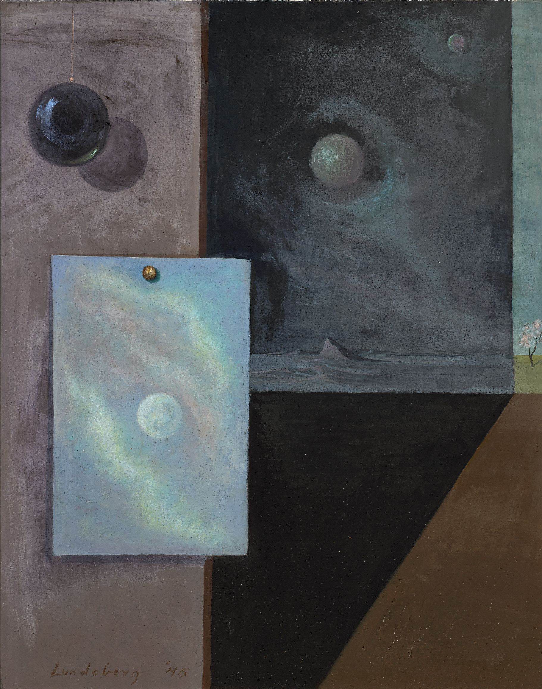 Spheres , 1945 oil on cardboard 15 1/2 x 12 1/2 inches; 39.37 x 31.75 centimeters  Private Collection