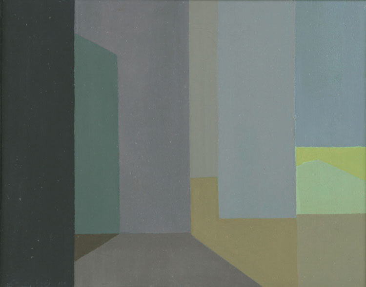 A Quiet Place , 1950  oil on canvas 16 x 20 inches; 40.6 x 50.8 centimeters