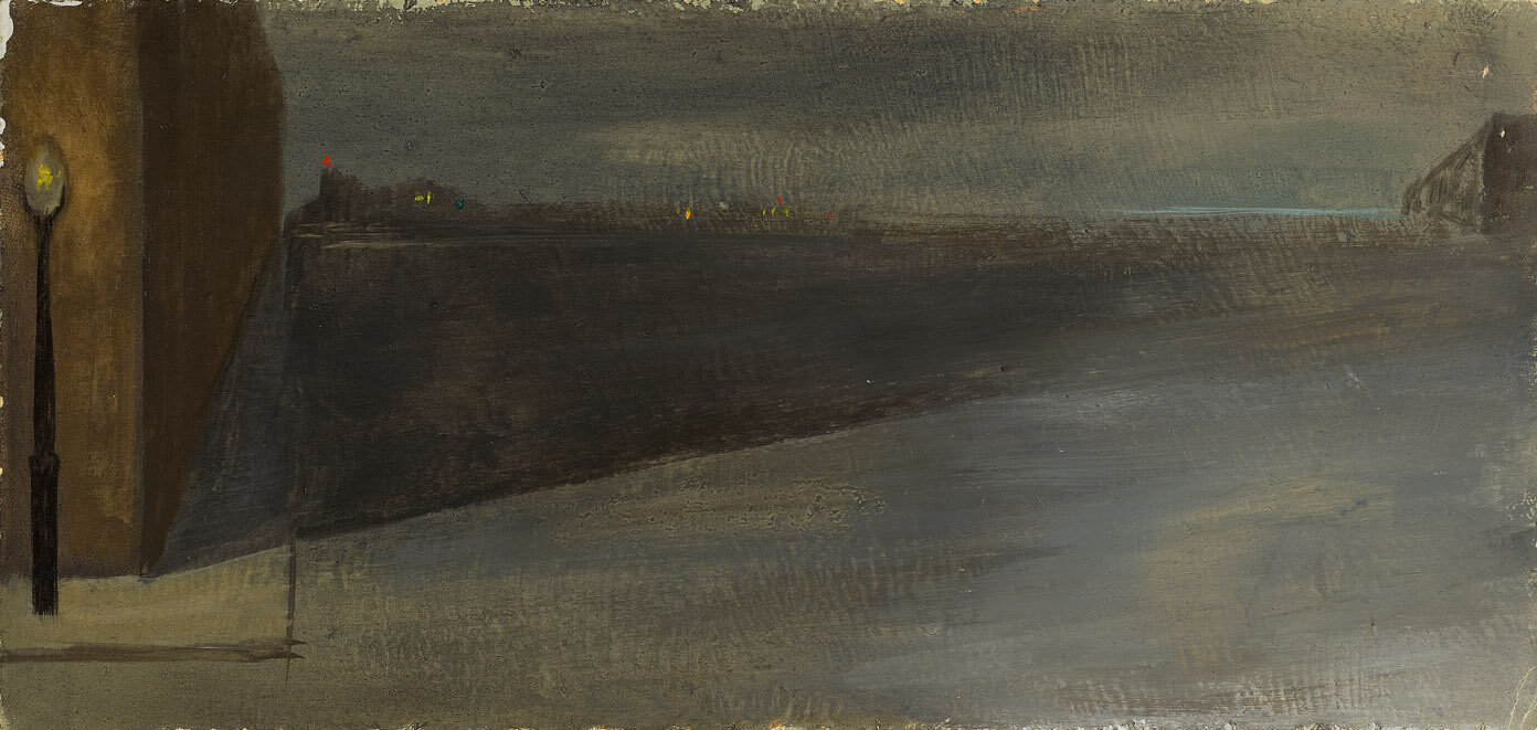 Night , 1951  oil on board 4 3/4 x 10 1/4 inches; 12.1 x 26 centimeters