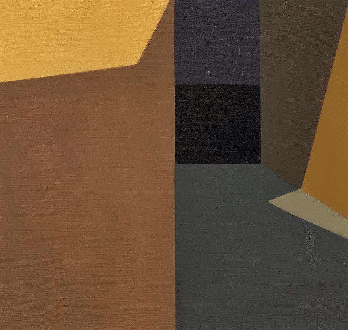 Dark Corridor , 1959  oil on canvas 20 x 21 inches; 50.8 x 53.3 centimeters