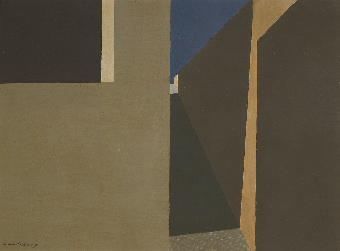 Streetlight in Shadows , 1960  oil on board 12 x 16 inches; 30.5 x 40.6 centimeters