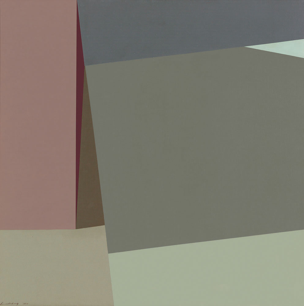 Sloping Horizon , 1960  oil on canvas 40 x 40 inches; 101.6 x 101.6 centimeters