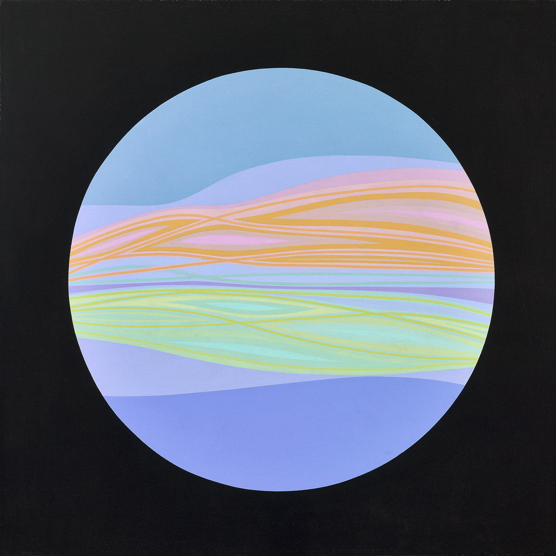 Planet #3 , 1965  acrylic and enamel on canvas 60 x 60 inches; 152.4 x 152.4 centimeters