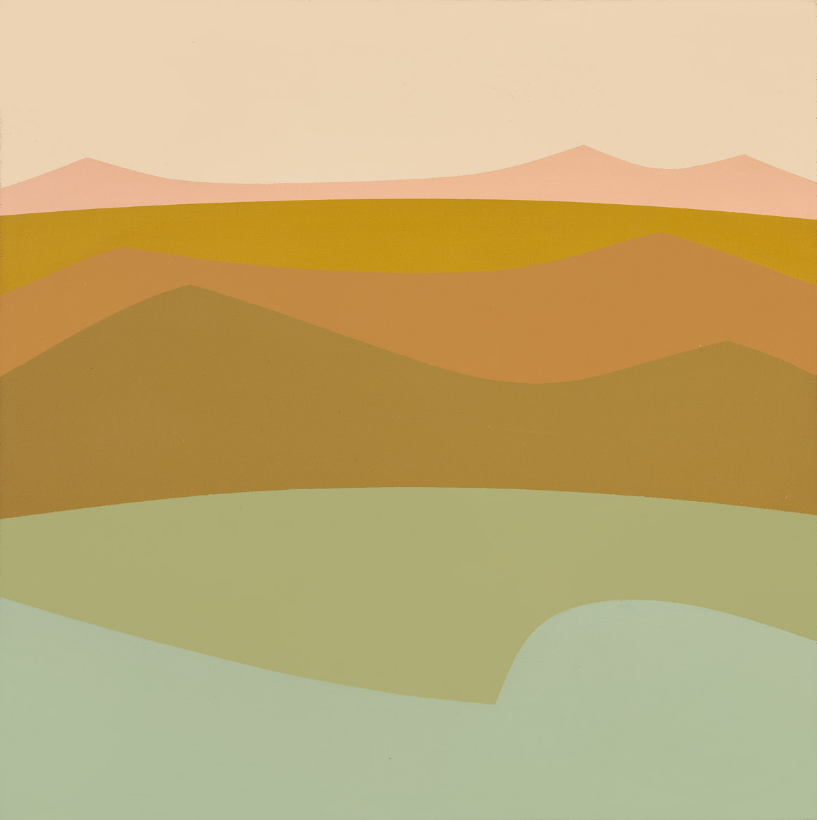 Untitled (Landscape or Mountain Lake) , 1970  acrylic on canvas 20 x 20 inches; 50.8 x 50.8 centimeters