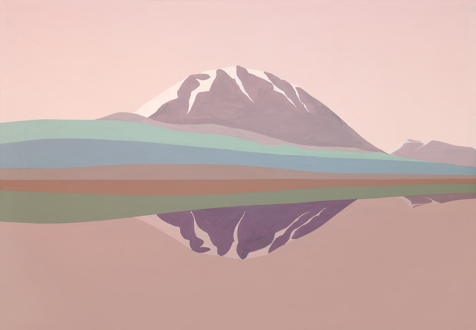 Two Mountains , 1990  acrylic on canvas 35 x 50 inches; 88.9 x 127 centimeters