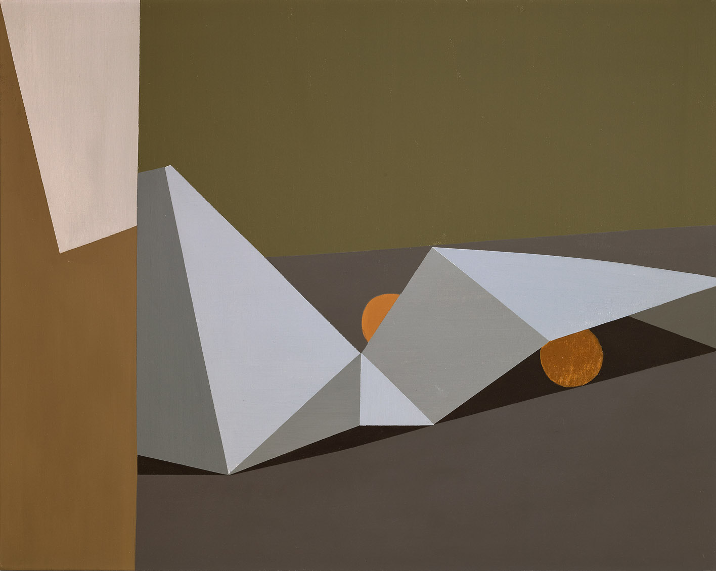 Still Life with Folded Paper , 1961 oil on canvas 24 in. x 30 inches; 60.96 x 76.2 centimeters  Long Beach Museum of Art