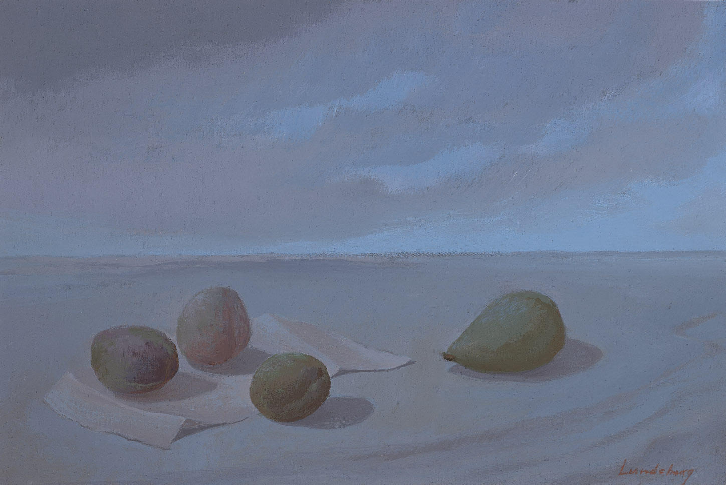 Three Plums and a Pear , 1976 acrylic on canvas 12 x 18 inches; 30.5 x 45.7 centimeters