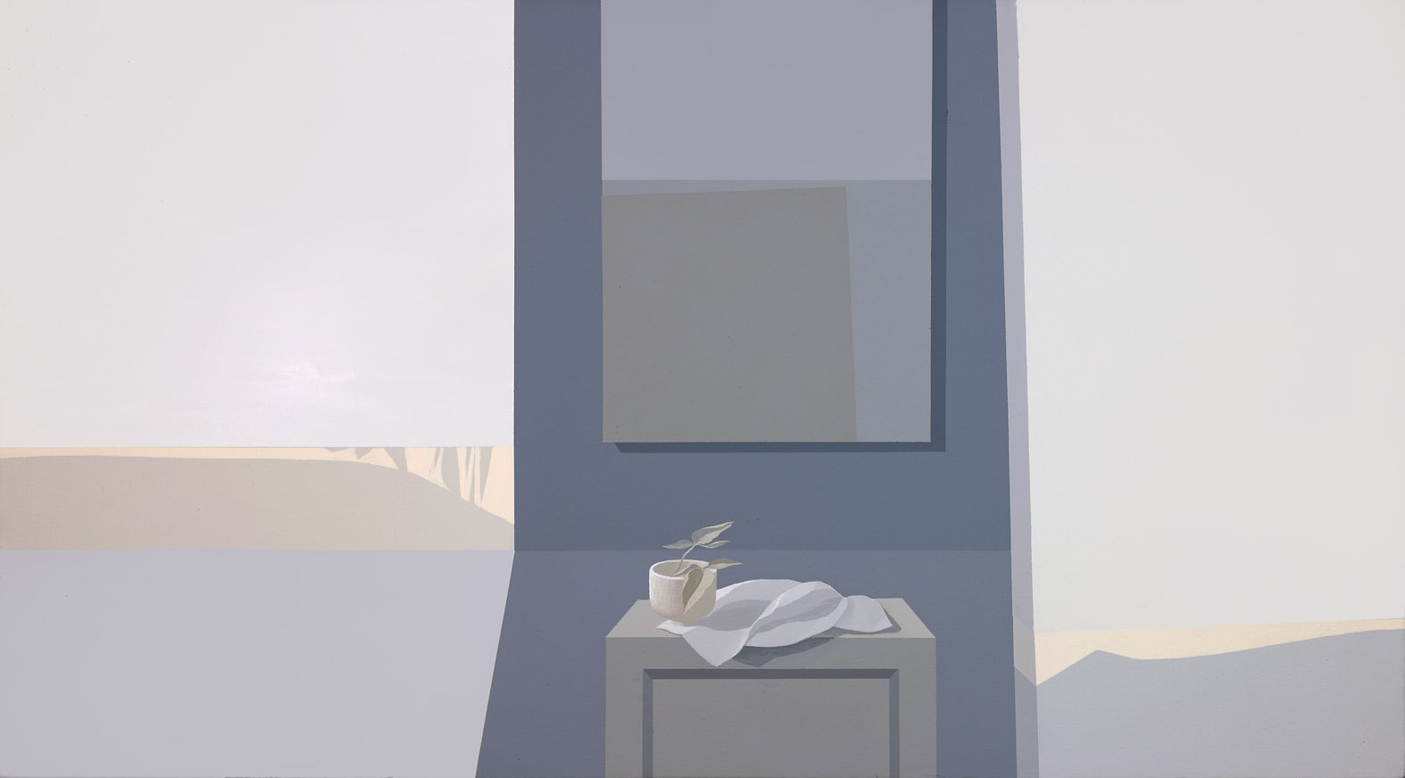 Grey Interior V,  1981 acrylic on canvas 30 x 54 inches; 76.2 x 137.2 centimeters  Private Collection, Los Angeles,