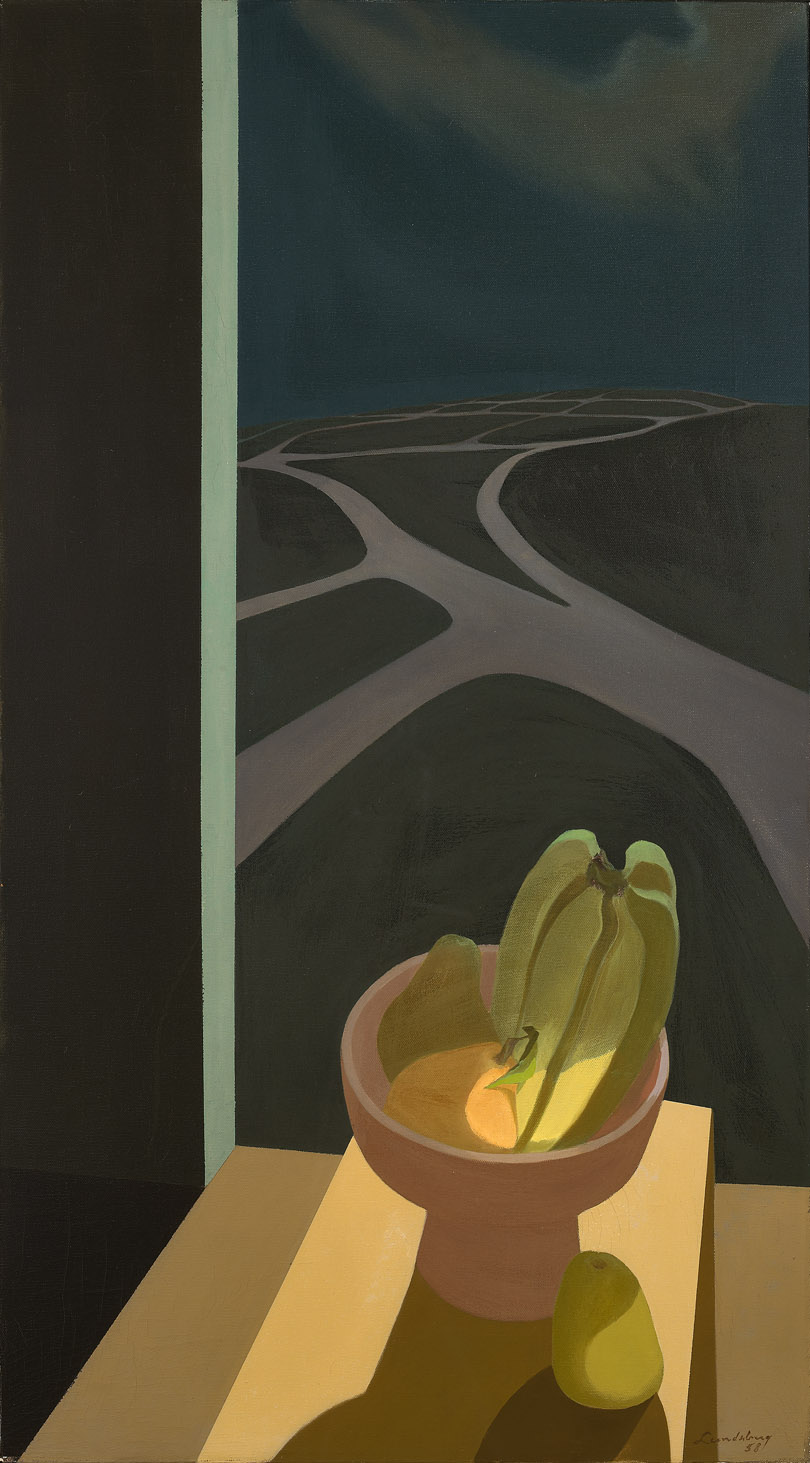 Still Life at Night , 1958 oil on canvas 36 x 20 inches; 91.44 x 50.8 centimeters  Long Beach Museum of Art